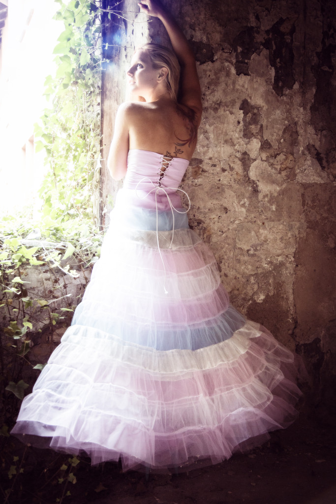 laced back tulle dress