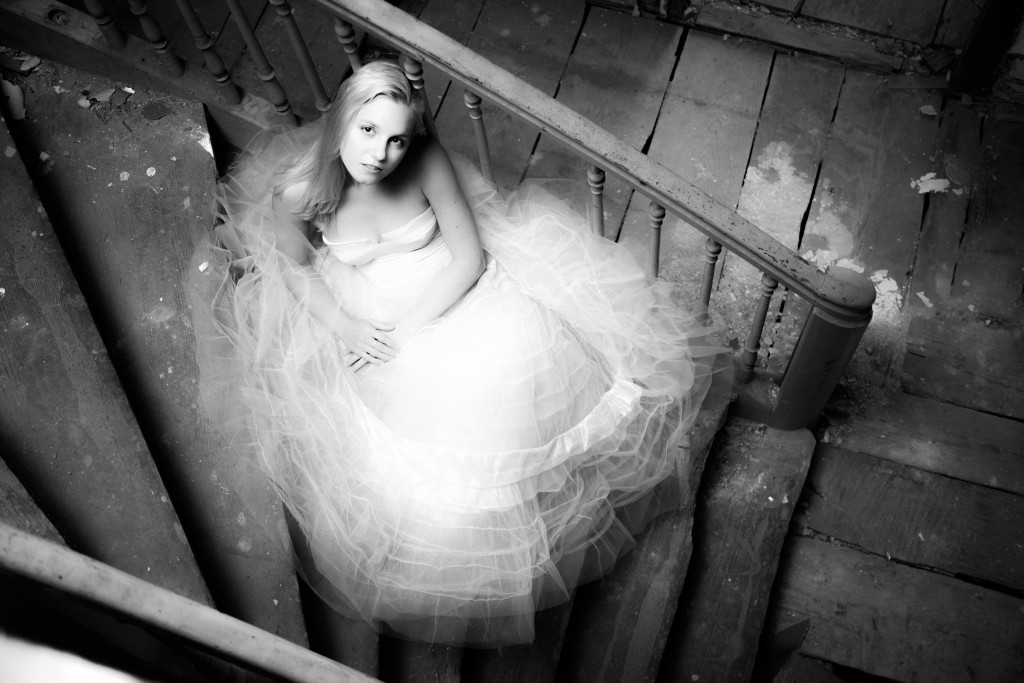 princess dress on broken stairway tulle over tulle