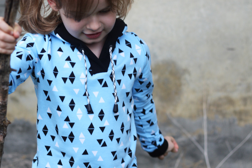 hoodie kids triangle blue fashion